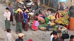 Burmese people buy and sell vegetebles on street food market, Sittwe Myanmar Stock Footage