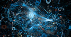 abstract blue particle motion background seamless looping fractal - stock footage