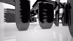 Stock Video Footage of Abstract interior with glossy black sculpture. 3D rendering