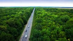 Aerial view of the road through green forest. Stock Footage