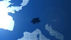 Switzerland. Zooming into Switzerland on the globe. Stock Footage