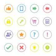 colorful miscellaneous flat icon set with circle frame - stock illustration