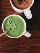 Greentea matcha latte - stock photo