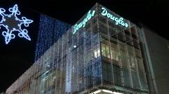 Douglas store on Zeil street on Christmas in Frankfurt Stock Footage