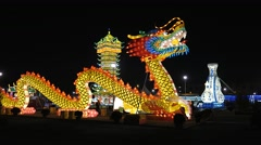 Festival of Chinese lanterns Milan in November 2015, Dragon light Stock Footage
