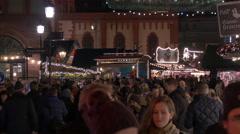 Big crowd walking in the Christmas market in Frankfurt Stock Footage