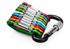 Colorful carabiner climbing Stock Photos
