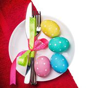 colored Easter eggs on a white background - stock photo