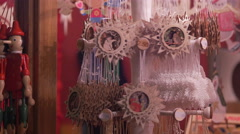 Christmas ornaments stand at the Christmas market in Frankfurt Stock Footage