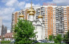 MOSCOW, RUSSIA - 05.29.2015. The temple in honor of the All-Merciful Saviour  - stock photo