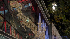Christmas ornaments on the facade of My Zeil shopping mall in Frankfurt Stock Footage