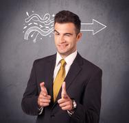 Confident sales person solves problem - stock photo