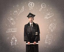 Happy graduate teenager with hand drawn school icons Stock Photos