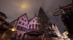 Christmas tree, nativity scene and the city hall of Frankfurt, Timelapse Stock Footage