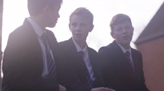 4K School children chatting outdoors during recreation break Stock Footage