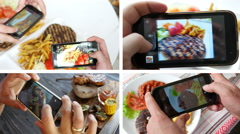Collage of take a photo picture of food in a restaurant with phone Stock Footage