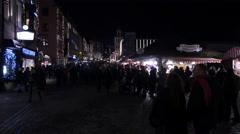 People walking in Hauptmarkt square at the Christmas market in Frankfurt Stock Footage