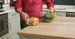 Midsection of a woman bringing the meal Stock Footage
