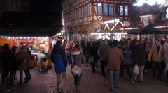 Walking at the Christmas market in Romerberg square, Frankfurt Stock Footage