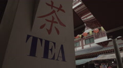 Chinese typography in a traditional area of Tea market Stock Footage
