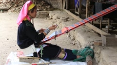 Portrait padaung tribe long-necked tribe woman.Bagan, Myanmar, Burma - stock footage