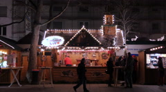 Wooden booths on a street on Christmas in Frankfurt Stock Footage