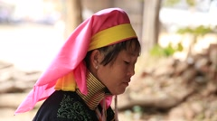 Portrait padaung tribe long-necked tribe woman.Bagan, Myanmar, Burma Stock Footage