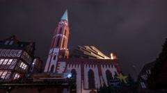 Alte Nikolaikirche church at the Christmas market in Frankfurt, timelapse Stock Footage