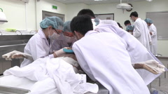 Students from Asia learn forensics Stock Footage
