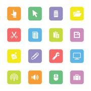 Stock Illustration of colorful computer and technology flat icon set on rounded rectangle