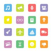 colorful transport and miscellaneous flat icon set on rounded rectangle - stock illustration