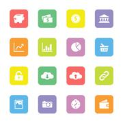colorful finance and technology flat icon set on rounded rectangle - stock illustration