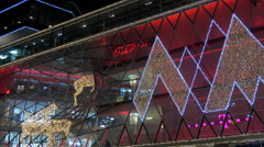 Tilt down of the My Zeil shopping mall's facade in Frankfurt Stock Footage