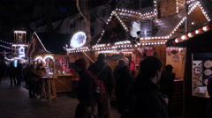 Wooden booths at the Christmas market in Frankfurt Stock Footage