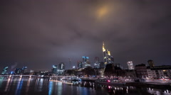 Skyscrapers and Main River at Christmas in Frankfurt, Timelapse Stock Footage