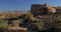 Desert morning  above Bowknot Bend on Green River Moab Utah and Canyonlands Stock Footage