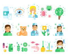 Allergy Vector Illustration Set - stock illustration