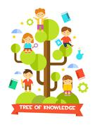 Kids Studying on Tree. Vector Illustration Stock Illustration
