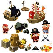 Pirate Set. Vector Illustration Piirros