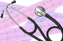 Heart analysis, electrocardiogram graph (ECG) and stethoscope Kuvituskuvat