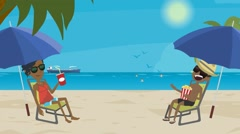 man and woman on the beach in the summer resting - stock footage