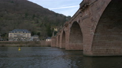 Low angle view of the Old Bridge over Neckar River in Heidelberg Stock Footage