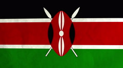 Kenyan flag waving in the wind (full frame footage) Stock Footage
