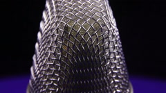 Studio Microphone Rotates on a Black Background Stock Footage