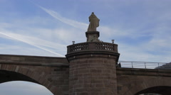View of the back of a statue on the Old bridge in Heidelberg Stock Footage