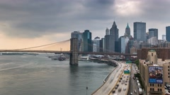 New York Brooklyn bridge Shore front Cars Clouds Timelapse Stock Footage