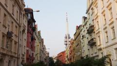 Zizkov Tower Building Facade Right - 4k Stock Footage