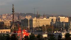 Mirador de Colon and Barcelona Skyline - stock footage