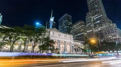 New York Manhattan night traffic Business centre Timelapse Stock Footage