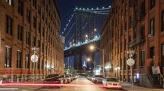 New York Manhattan bridge at night Street Cars Timelapse - stock footage